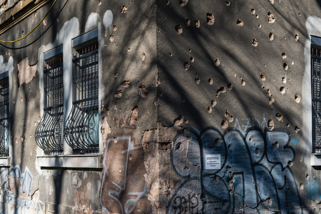 Bullet holes in the center of Sarajevo
