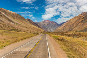Route through the Andes