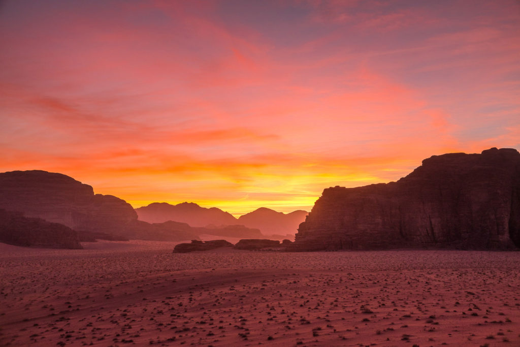 Sunrise in the red desert